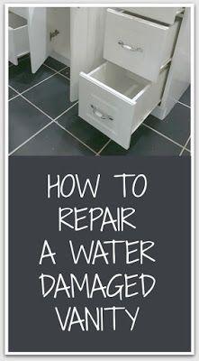 Repairing A Water Damaged Bathroom Vanity Bathroom Repair Bathroom Vanity Makeover Painted Vanity Bathroom