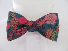 Mens Bowtie ~ Liberty Print - Strawberry thief ~ grey, duck egg blue colorway - choice of fittings ~ neoud ~ tie ~ cravat