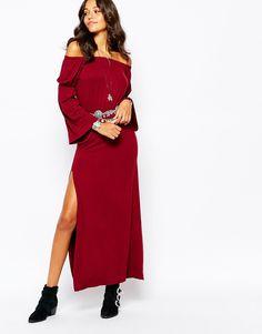 Image 4 ofBoohoo Off The Shoulder Maxi Dress