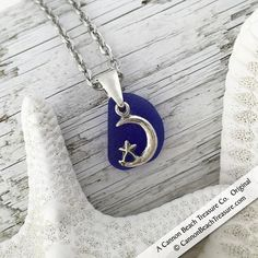 Cobalt Blue Sea Glass and Sterling Silver Moon and Stars Charm Pendant