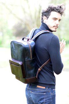 Large Black Zipped Leather Backpack by Beara Beara