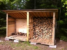 Wood Storage Shed Plans won't need the double use a pallet as the bottom~Lady Bren