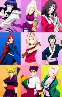 Hinata, Ino, Kurenai, Mei, Sakura, Shizune, Temari, Tenten, Tsunade