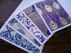 Assorted Lokta Paper Purple and Blue Prints 5 Note Card by teryyo