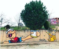 Street Art News, Street Art Graffiti, Urban Tattoos, Popeye The Sailor Man, Frases Humor, Mural Art, Murals, Wall Art, Sculpture
