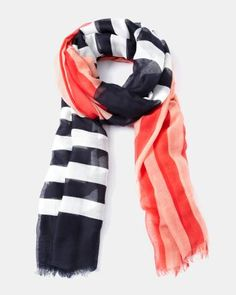 The striking colour blocks and pretty stripes of this lightweight summer scarf will put the perfect final touch to your work outfit