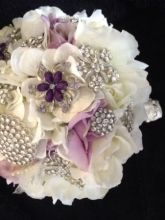 Ivory and Lavender Silk flowers Brooch Bouquet