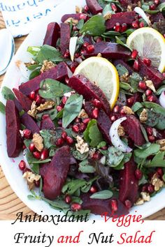 Here is a plant based salad that combines a variety of wonderful flavors that happens to be so good for you. The salad is packed with purslane, beetroots, pomegranates, walnuts, leafy greens, onion, walnuts, lemon juice, honey and olive oil. There are a large number of antioxidants in this salad. Antioxidants work to repair or prevent damage to your body's cells and boost your immune system.