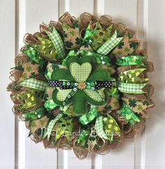 Saint Patrick's Day Burlap Deco Mesh Wreath - Shamrock Wreath - Lucky St. Patrick's Day Wreath by MrsLanderBoutique on Etsy