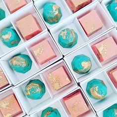 Love this colour combination... Peach and mint Chocolate Gems...
