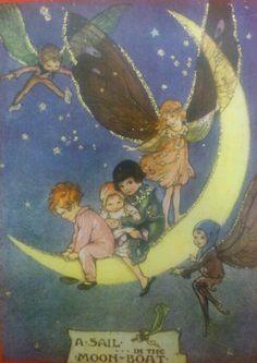 :: Sweet Illustrated Storytime :: Illustration of fairy moon boat Fairy Land, Fairy Tales, Vintage Fairies, Vintage Moon, Flower Fairies, Moon Art, Children's Book Illustration, Book Illustrations, Pics Art