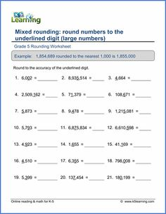 Grade 5 Place value Worksheet round to the underlined digit