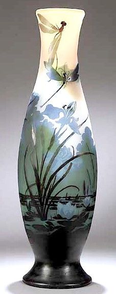 IMAGE: A Galle Cameo baluster form vase with dragonfly design