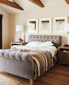 Tufted sleigh bed. I could see myself in this