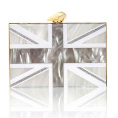 Merrick Union Jack - back side white / silver perspex. (front side black / silver) #unionjack #unionjackbag #oversizedhandbag #oversizedclutch #KOTUR