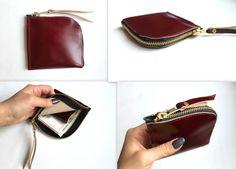 burgundy leather wallet by nastya klerovski