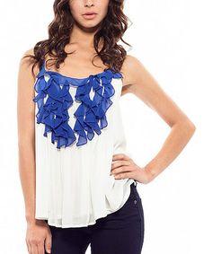 Look at this #zulilyfind! Off-White & Royal Blue Swing Camisole by Cecico #zulilyfinds