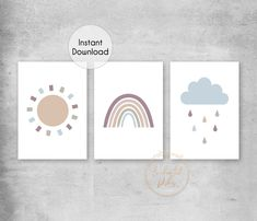Natural Rainbow Sun Cloud Printable Print Set - Neutral Boho Nursery Wall Art - Printable Wall Art