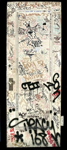 A Brief History of New York: Selections from A History of New York in 101 Objects. On view until November 30, 2014. Door with graffiti tags from the studio of Jack Stewart, 1970s. Metal, paint. Gift of regina Serniak Stewart, New-York Historical Society 2011.3.