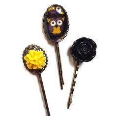 Owl Hair Pin-Set of 3-Antique Brass Bobby Pin-Flower Hair