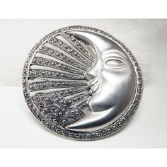 Moon Brooch Silver Tone Faux Marcasite TONA 80's Mod Statement ($20) ❤ liked on Polyvore featuring jewelry, marcasite jewelry, mod jewelry, imitation jewelry, eighties jewelry and silvertone jewelry