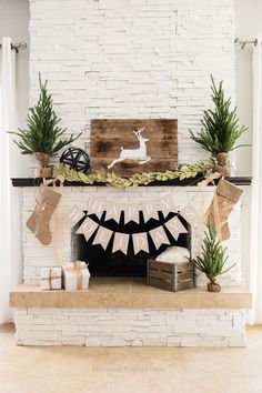 Rustic Christmas Fireplace Mantel Decor To Inspire 14 Elegant Christmas, Rustic Christmas, Beautiful Christmas, Christmas Home, White Christmas, Christmas Quotes, Christmas Cactus, Christmas Island, Christmas Vacation