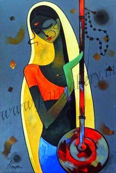 Datos : A.J.MOUJAN, born India 1967. Indian Contemporary Art, Modern Art, Indian Folk Art, Indian Artist, Madhubani Art, Indian Art Paintings, India Art, Krishna Art, Art Mural