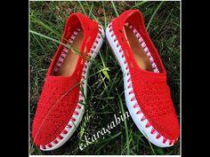 Kırmızı Örgü Ayakkabı Yapımı 1. Bölüm #örgüayakkabıyapımı #knitting - YouTube Crochet Boot Cuffs, Crochet Boots, Crochet Shawl, Crochet Clothes, Crochet Stitches, Crochet Shoes Pattern, Shoe Pattern, Flip Flop Sandals, Shoes Sandals