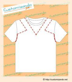 Customizando camisetas - Ill Tutorial and Ideas Cut Up T Shirt, Cut Shirts, Shirt Refashion, T Shirt Diy, Clothes Refashion, Clothes Crafts, Sewing Clothes, T Shirt Redesign, T Shirt Remake