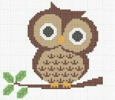 Cute owl, easy cross stitch pattern!                                                                                                                                                                                 More