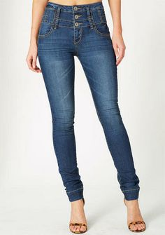 STRETCH five-pocket high waist skinny jean with triple button ...