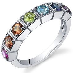 7 Stone Rainbow 1.75 Carats Multi Gemstone Band Ring in Sterling Silver Rhodium Finish Available in Size 5 thru 9 Peora. $29.99