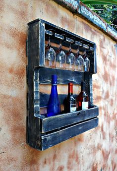 Rustic Wall Mount Wine Rack With 5 Glass Holder And Shelf