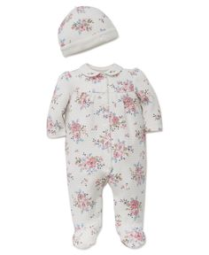 18d9f030d5 Little Me Floral-Print Hat   Footed Coverall Set