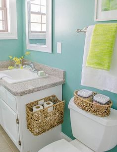 Our Master Bathroom {before & after Green bathroom makeover with home goods. Bad Inspiration, Bathroom Inspiration, Bathroom Organization, Bathroom Storage, Organized Bathroom, Bath Towel Storage, Organization Hacks, Bathroom Renos, Master Bathroom