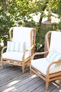 Blogger Julie Blanners Lake House Deck With Ballard Designs Ceylon Teak Outdoor Furniture Two Of Our