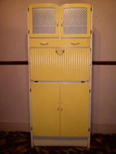 Vintage Retro Kitchen Cabinet Larder Kitchenette 50's 60's Free Standing Kitchenette, Furniture, Larder, Vintage Kitchen, Retro Vintage, Tall Cabinet Storage, Locker Storage, 60s Kitchen, Vintage