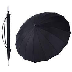 Golf Umbrella, Rainbrace 60-Inch Auto Open Windproof Travel Umbrella with 16 Ribs Golf Size Rain Umbrella for Men