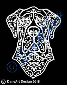 Zentangly Sugar Skull Great Dane With Cropped Or by DaneArtDesign
