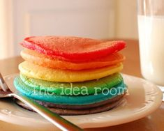 St. Patrick's Day Rainbow Pancake Recipe | theidearoom.net