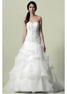 BEAUTIFUL SATIN ORGANZA SATIN A-LINE STRAPLESS SWEETHEART DROP WAISTLINE BEADED EMBROIDERY PICK-UP WEDDING DRESS
