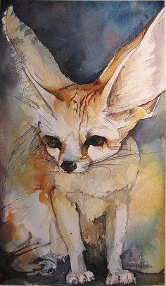 Fennec fox By Jennifer Kraska Fennec Fox, Wolf, Fox Art, Whimsical Art, Watercolor Paintings, Watercolours, Watercolor Techniques, Manga, Portrait