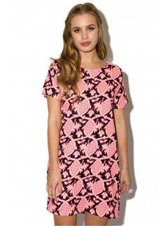 Pink Neon Shift Dress,  Dress, Neon Pink  Shift Dress  Cap Sleeves, Bohemian (Boho) / Hippie #pink #neon #shift #dress #love #boho #hippie #trendy #obsessed #love #ootd  www.UsTrendy.com