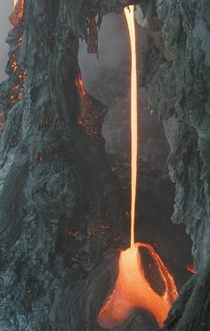 Volcanic action in Hawaii produces spectacular effects. Hawaiian lava is no thicker than pancake syrup, making for amazing lavafalls when it finds a suitable place.