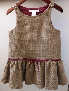 Janie & Jack AUTUMN EQUESTRIAN Brown Gold Tweed Jumper Dress Baby Girl 12 18…