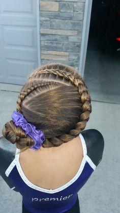 Gymnastics hair. Braids.