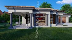 3 Bedroom House Plan - My Building Plans South Africa 4 Bedroom House Plans, Family House Plans, Single Storey House Plans, House Plans South Africa, Tuscan House, Dream House Exterior, My Dream Home, Dream Homes, Building Plans