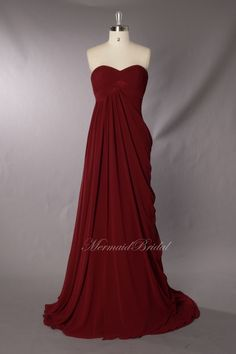 Burgundy a line Prom Dress/ Evening Gown/ Full-length party dress with elegant pleated sweetheart. $156.99, via Etsy.