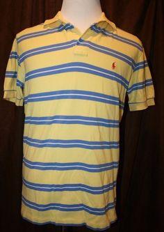 c142dbc3533aa Polo Ralph Lauren Polo Shirt Yellow Blue Striped Short Sleeves Pony Logo  Medium