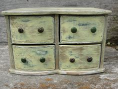 Upcycled Wood Jewelry Box Green Yellow Gold Rustic by spotonfinds